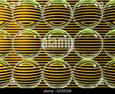 Striped glass balls with yellow and black lines - Abstract 3d illustration - Stock Photo