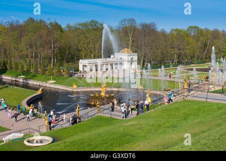 Samson Fountain And Sculptures of The Grand Cascade In Peterhof, Saint Petersburg - Stock Photo