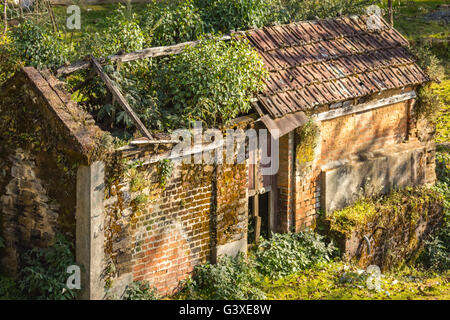 A very old house with the grass on its roof in Nepal.People might have left it during the maoist insurgency period - Stock Photo