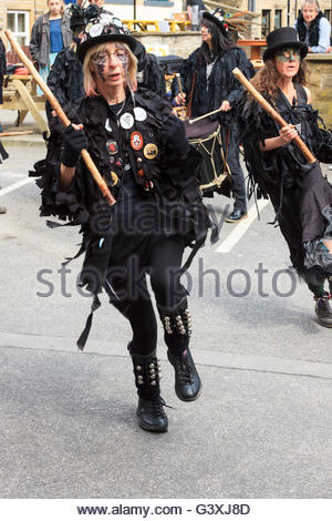 Thieving Magpie morris dancers . Festival of Folk Holmfirth West Yorkshire England UK - Stock Photo
