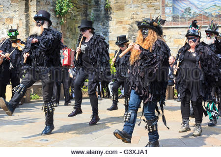 Thieving Magpie mixed border morris side dancers at Holmfirth Festival of Folk Holmfirth West Yorkshire England - Stock Photo