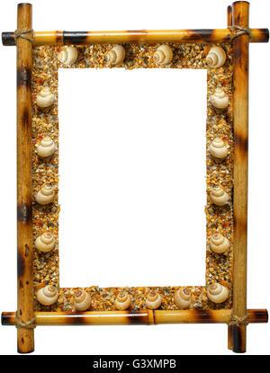 Photoframework from sea cockleshells on white background - Stock Photo