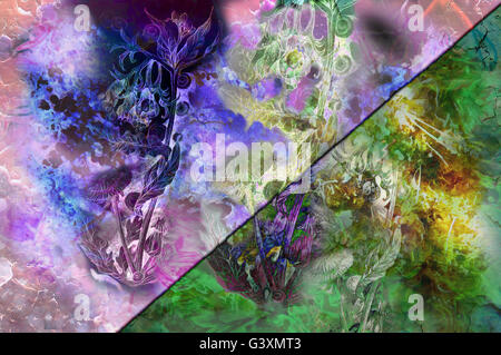 background graphic drawing with dandelion, floral motive and healing herbs - Stock Photo