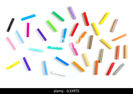 Colorful chalks seamless pattern on white background isolated - Stock Photo