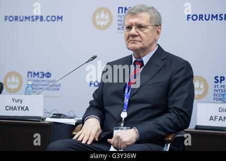 St Petersburg, Russia. 16th June, 2016. Russian Prosecutor General Yuri Chaika looks on at a panel session titled - Stock Photo