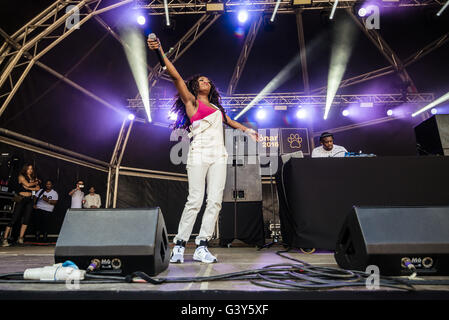 Barcelona, Catalonia, Spain. 16th June, 2016. British singer LADY LESHURR performs live at the opening day of the - Stock Photo