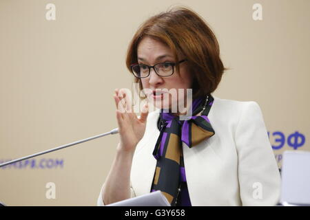 St. Petersburg, Russia. 16th June, 2016. Elvira Nabiullina, governor of the Central Bank of Russia, addresses the - Stock Photo