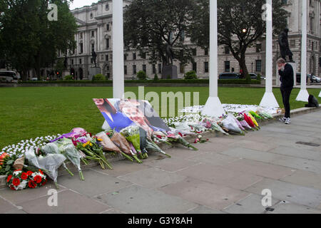London, UK. 17th June, 2016. Floral tributes and messages of condolence are placed in Parliament to Labour MP Jo - Stock Photo