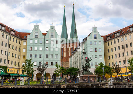 Historic Nicolai quarter, in the former East Berlin, Nicolai church, Berlin, Germany - Stock Photo
