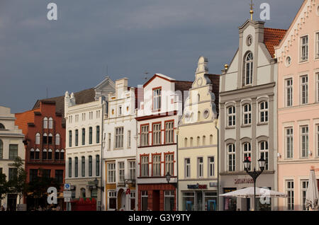 Row of houses in the market square, Wismar, Mecklenburg-Western Pomerania - Stock Photo