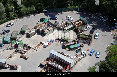 aerial view of a domestic household waste recycling plant in England, UK - Stock Photo