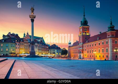 Warsaw. Image of Old Town Warsaw, Poland during sunset. - Stock Photo