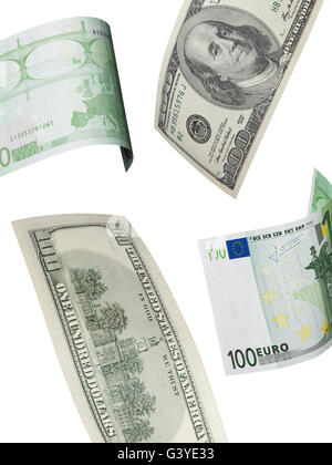 One hundred euro and dollar bill collage isolated on white. Vertical format - Stock Photo