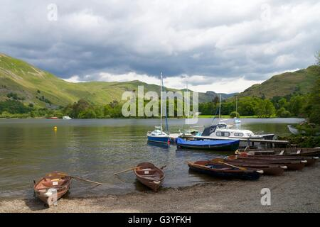 Rowing boats for hire, Glenridding, Ullswater, Lake District National Park, Cumbria, England, UK, GB,  Europe - Stock Photo