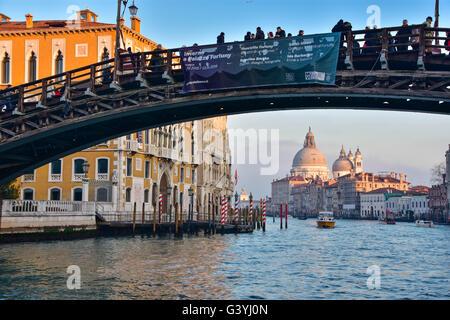 Ponte dell' Accademia with Santa Maria della Salute and Grand Canal, Venice - Stock Photo