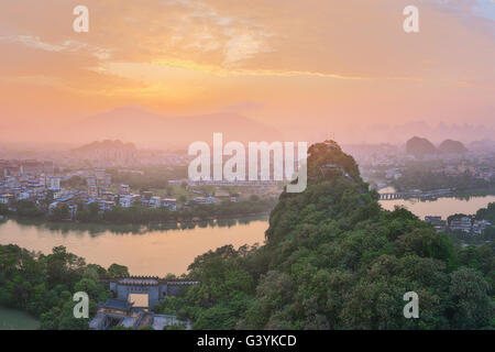Landscape of Guilin, Li River and Karst mountains. Located near Yangshuo County, Guangxi Province, China. - Stock Photo