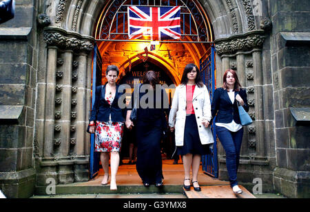 Mary Creagh (left) and Caroline Flint (second right) leave St Peter's Church Birstall, West Yorkshire after a vigil - Stock Photo