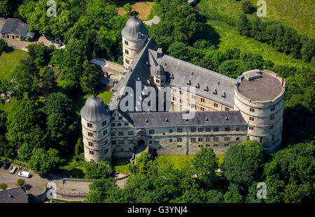 Aerial view, Wewelsburg, hill Castle in the district Wewelsburg town Buren in the district of Paderborn, triangular - Stock Photo