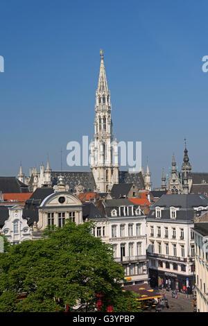 City view to Agora Square and Hôtel de Ville spire Brussels Belgium - Stock Photo