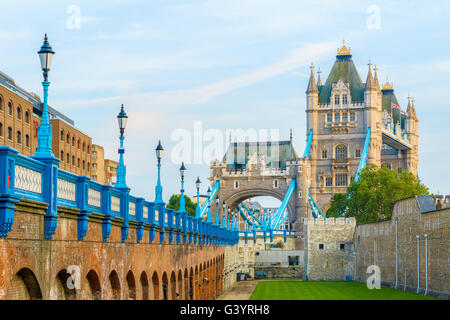 Tower Bridge in London from the north bank of river thames - Stock Photo