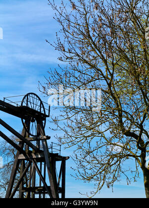 Brinsley Headstocks the remains of a former coal mine near Eastwood in Nottinghamshire England UK which closed in - Stock Photo