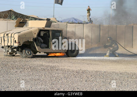 Firefighter Puts Out Flames On A Humvee During A Mock Explosion G Yweb on M1114 Hmmwv Battery Location