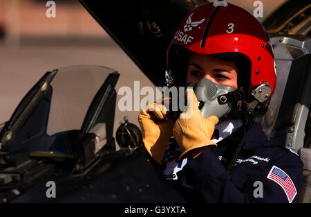 Pilot prepares to take off in an F-16 Fighting Falcon. - Stock Photo