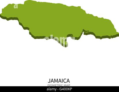 Isometric map of Jamaica detailed vector illustration - Stock Photo