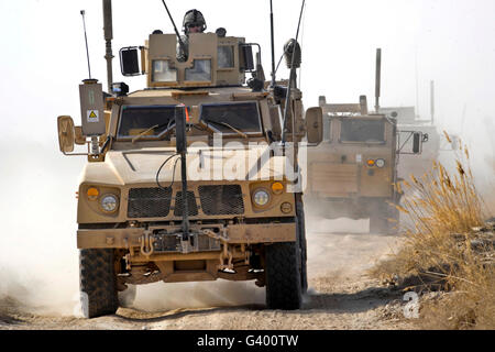 A U.S. Army M-ATV leads a convoy in Afghanistan. - Stock Photo