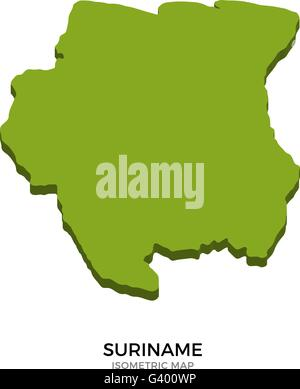 Isometric map of Suriname detailed vector illustration - Stock Photo