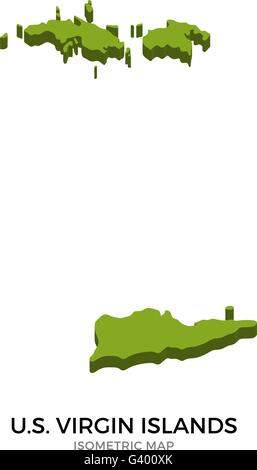 Isometric map of U.S. Virgin Islands detailed vector illustration - Stock Photo