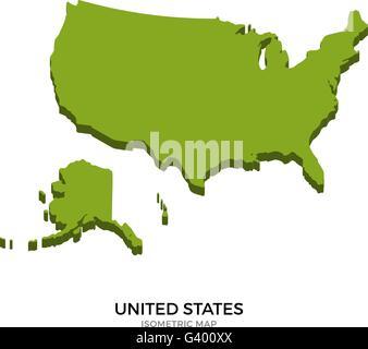 Isometric map of United States detailed vector illustration - Stock Photo