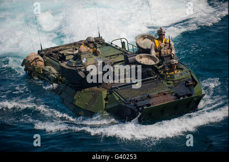 Marines navigate an amphibious assault vehicle. - Stock Photo
