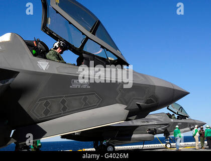 F-35B Lightning II variants are secured on the flight deck of USS Wasp. - Stock Photo