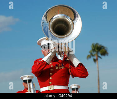 U.S. Marine Corps Drum and Bugle Corps performing. - Stock Photo
