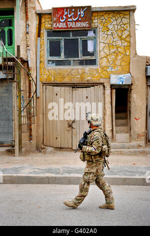 U.S. Air Force Senior Airman patrols Qalat City, Afghanistan. - Stock Photo
