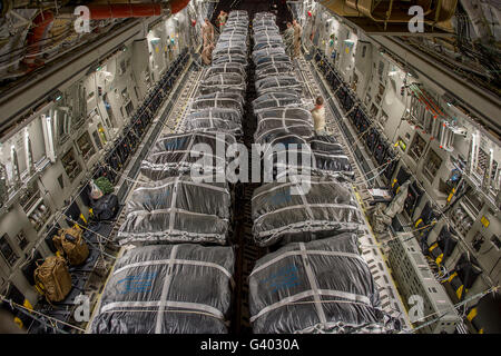Interior Of A U S Air Forces C 17 Cargo Plane Carrying A
