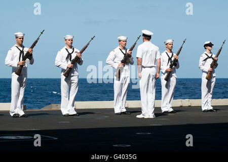 The honor platoon aboard the aircraft Carrier USS Harry S. Truman. - Stock Photo