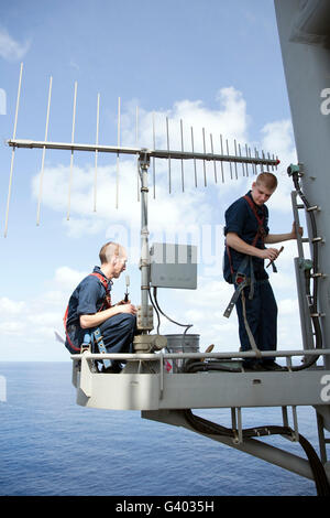 Technicians perform maintenance on the OE-578 antenna. - Stock Photo