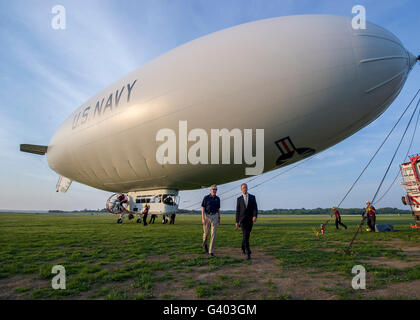 Secretary of the Navy completes a flight aboard the MZ-3A airship. - Stock Photo