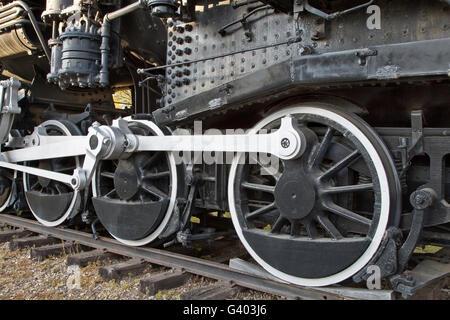 Drive wheels main rods connecting, 440 SooLine, Steam Locomotive. - Stock Photo