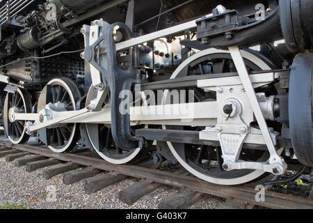 Drive wheels & main valve  rod connecting, 440 SooLine, Steam Locomotive. - Stock Photo