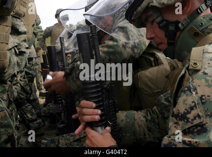 A rifleman loads a foam baton round into his M203 grenade launcher. - Stock Photo