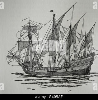 Age of Discovery. The Caravel. 15th-16th century. Engraving. 19th century. - Stock Photo
