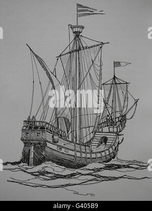 Modern Age. Late 16th century ship. Engraving, 19th century. - Stock Photo