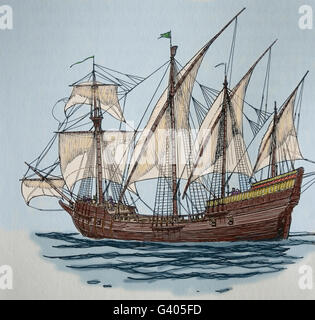 Age of Discovery. The Caravel. 15th-16th century. Engraving. 19th century. Color. - Stock Photo