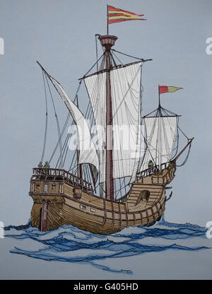 Modern Age. Late 16th century ship. Engraving, 19th century. Color. - Stock Photo
