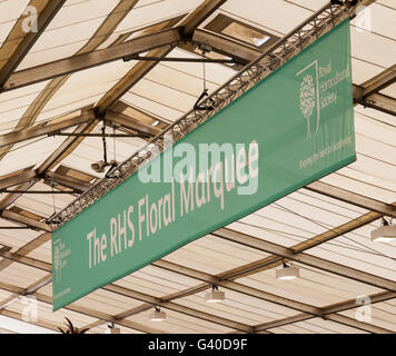 A sign saying RHS Floral Marquee at RHS Tatton Park flower show Cheshire England UK - Stock Photo