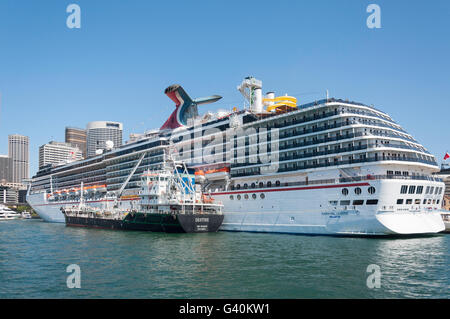 'Carnival Legend' cruise ship berthed at Circular Quay, Sydney Harbour, Sydney, New South Wales, Australia - Stock Photo