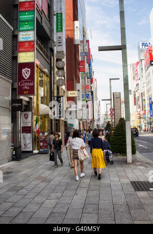TOKYO - MAY, 2016: Luxury shopping district Ginza on June 01, 2016 - Stock Photo